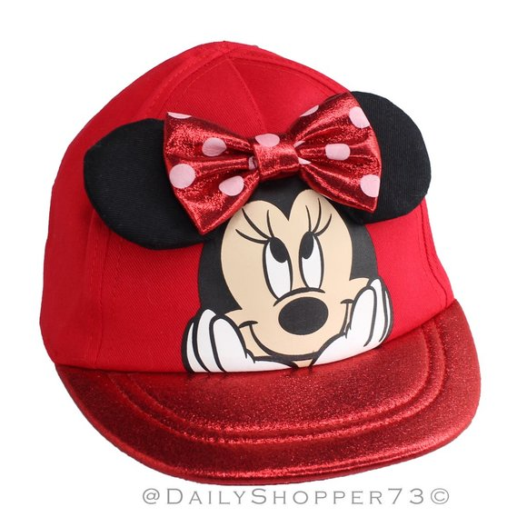 DISNEY MINNIE MOUSE Infant Baby Adjustable Baseball Cap Hat Blue Red Bow NEW NWT